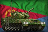 light tank apc with summer camouflage on the Eritrea flag background. 3d Illustration