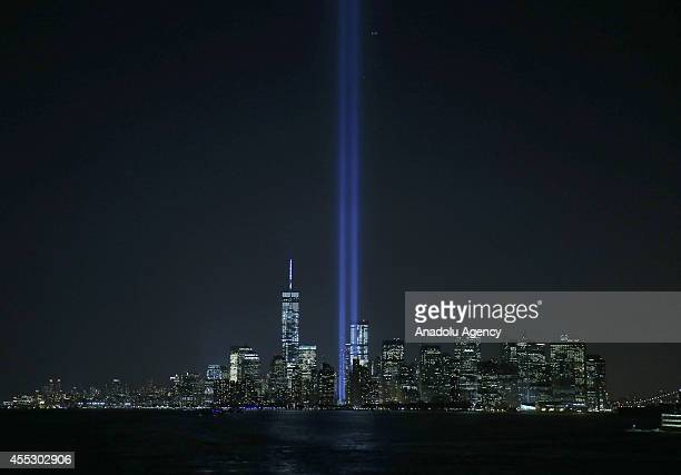 'Light Towers' that represent the Twin Towers destroyed at the 9/11 terrorist attacks are seen in New York United States on September 11 2014 After...
