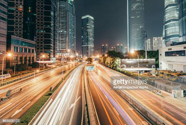 Light Trail of Shanghai Highway at Night