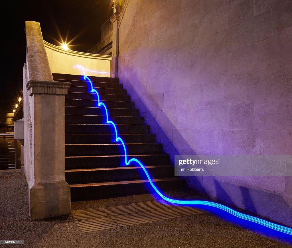 Light trail on steps.