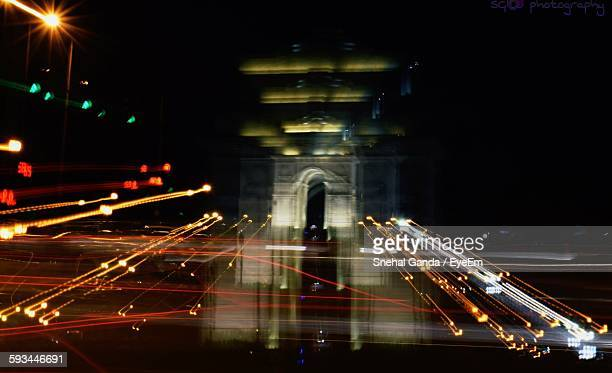 Light Trails Against India Gate In City At Night