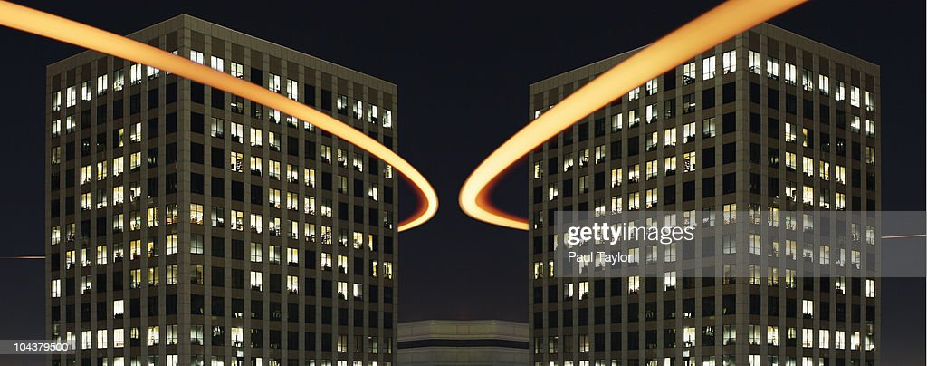 Light Trails and Buildings : Stock Photo