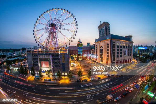 CONTENT] Light trails and Ferris wheel at night in Ulsan South Korea Fisheye shot