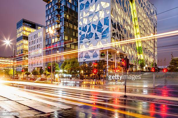 Light trails and modern architecture