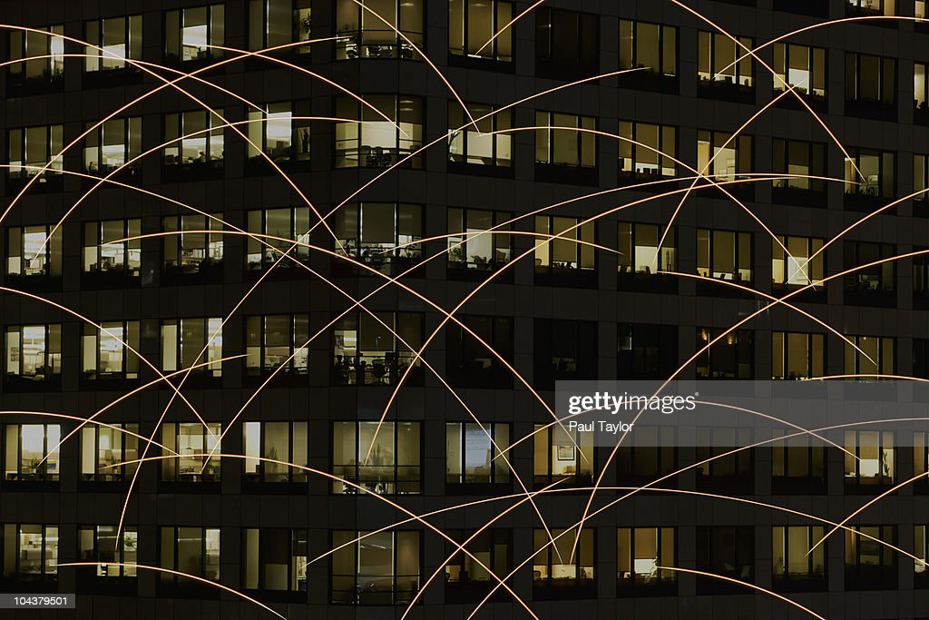 Light Trails and Offices : Stock Photo