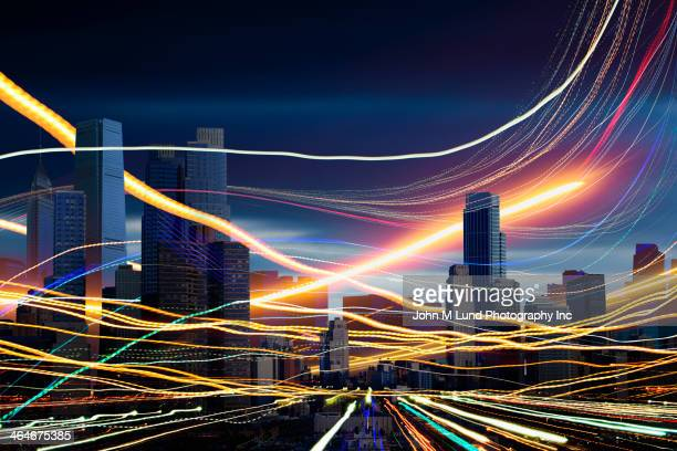 Light trails around city
