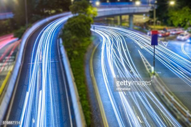 Sentiers de lumière de nuit de Hong Kong
