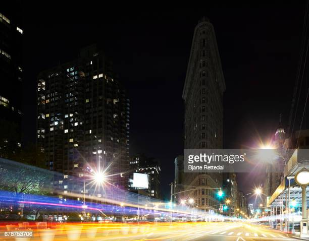 Light trails at night in the Flatiron District