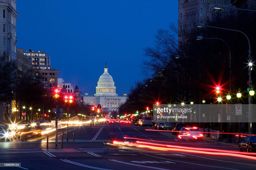 Light trails at rush hour in Washington : Stock Photo