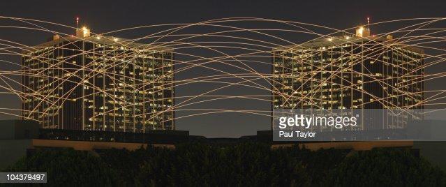 Light Trails Between Buildings : Stock Photo