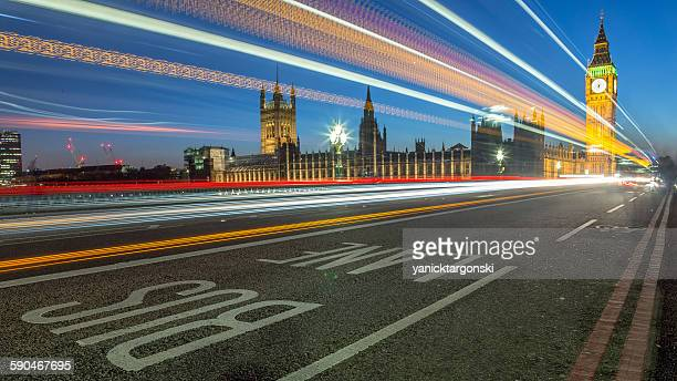 Light Trails by Houses of Parliament and Big Ben, London, UK