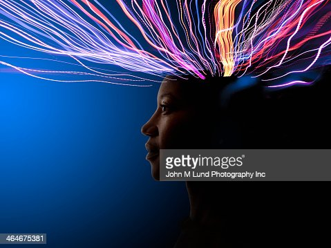 Light trails coming from African American's head