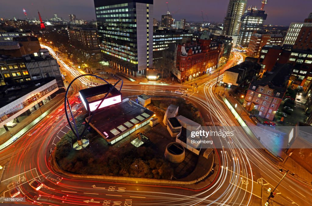Light trails from traffic are seen as they pass around the Old Street roundabout, in the area known as London's Tech City, in London, U.K., on Tuesday, Dec. 17, 2013. The U.K government last year pledged 50 million pounds for a new London startup incubator, and hired ex-Facebook Inc. executive Joanna Shields to promote Tech City, with Google Inc., Amazon.com Inc., and Cisco Systems Inc. all having taken space in the area or planning to do so. Photographer: Chris Ratcliffe/Bloomberg via Getty Images