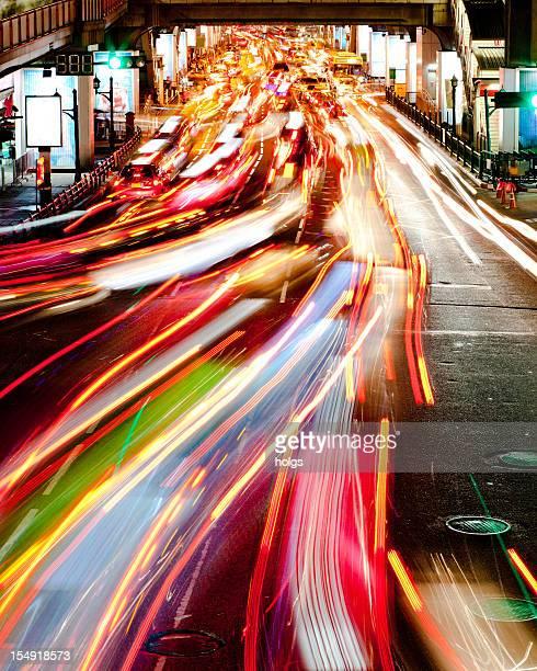 Light Trails from Traffic, Bangkok