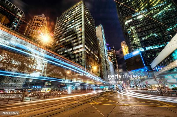 Light trails in Central District, Hong Kong