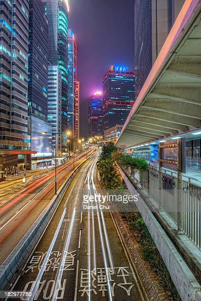 Light trails in Central, Hong Kong