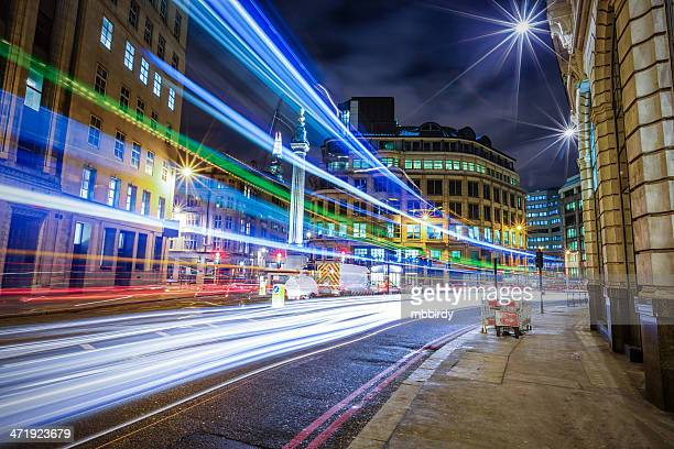Light trails in City of London at night