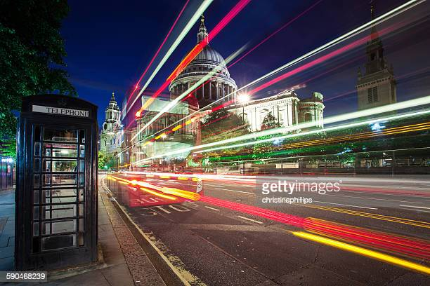 Light trails in front of St Paul's Cathedral, London, England, UK
