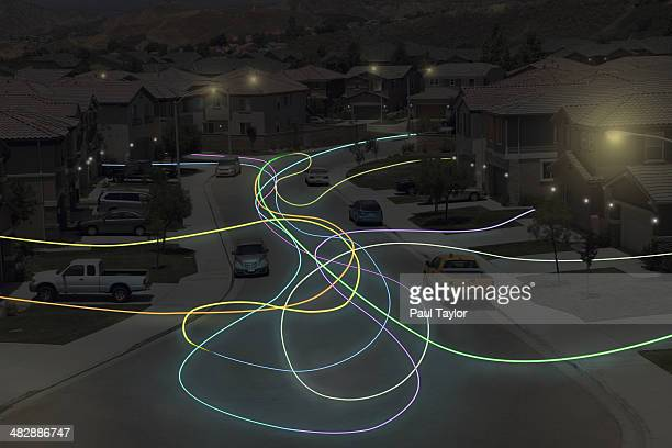 Light Trails in Suburbs