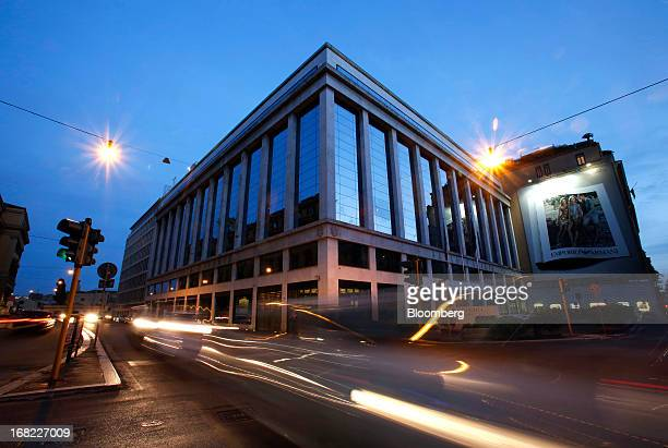 Light trails made by passing automobiles are seen in front of the Banca D'Italia Italy's central bank in Rome Italy on Sunday May 5 2013 Italian...