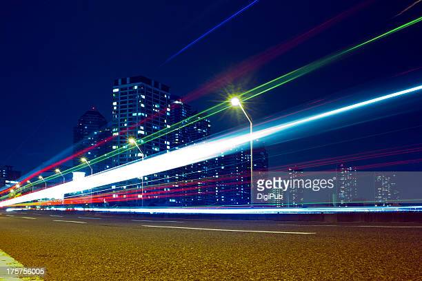 Light trails made by passing vehicles