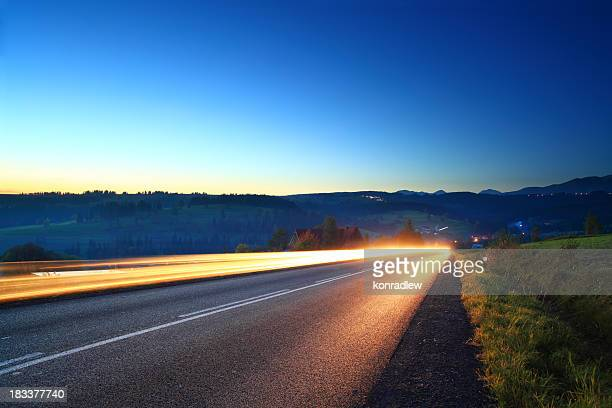 Light trails - mountain road