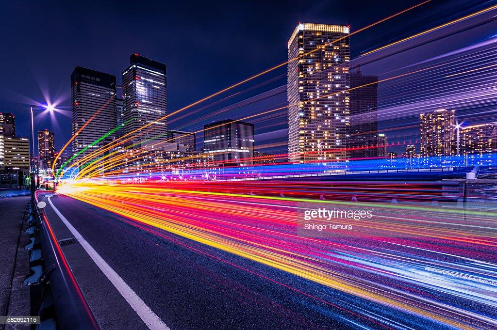 Light trails of Harumi Street