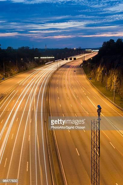 Light trails of traffic on freeway