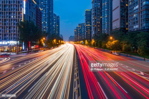 Light trails on a large urban highway in Chengdu - China