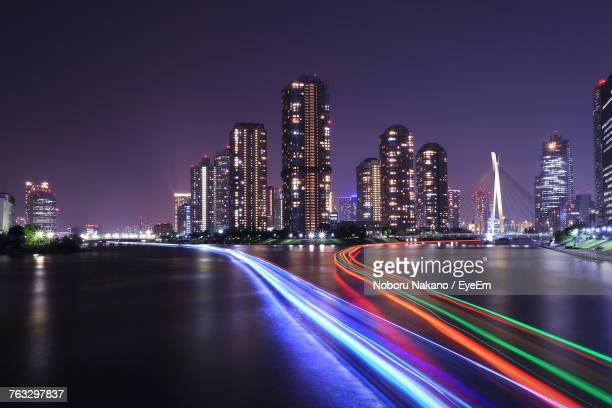 Light Trails On City Lit Up At Night