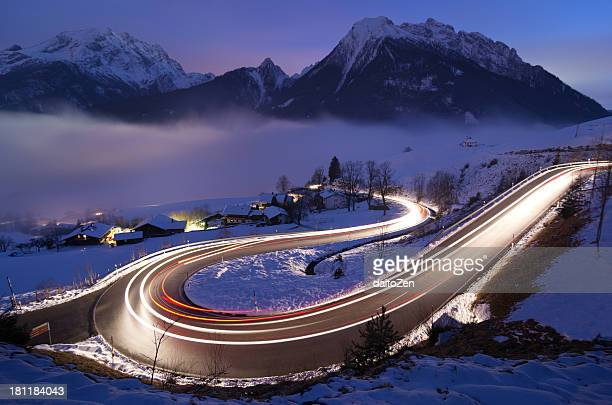 Light trails on German mountain road in winter