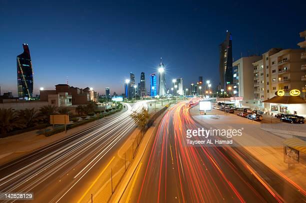 Light trails on road in Kuwait