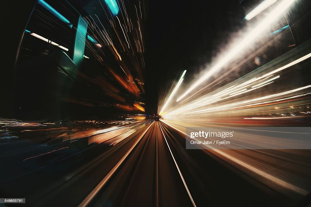 Light Trails On Street At Night : Stock Photo