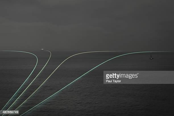 Light Trails Over Ocean