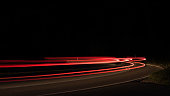 light trails at curve in germany near Feldberg