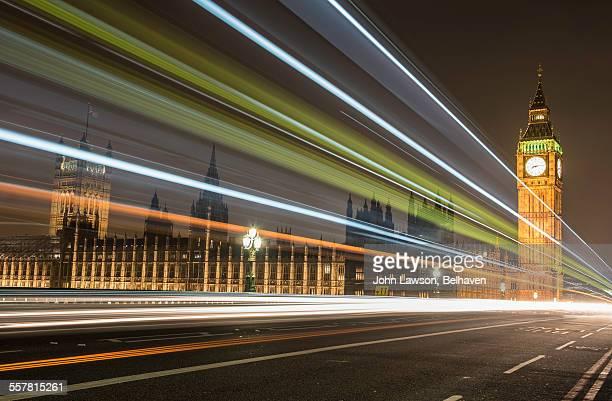 Light trails, Westminster Bridge, London