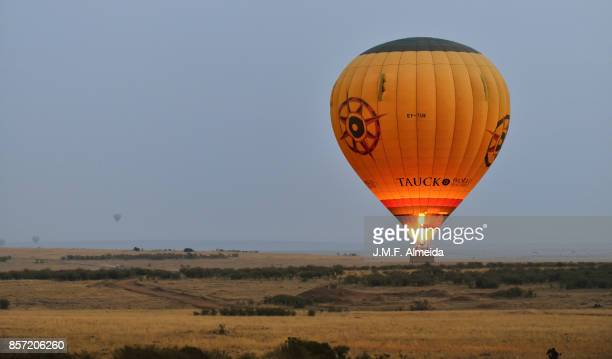 Light up hot balloon at sunrise