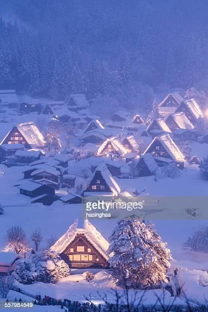 Light up Shirakawa-go village with snow on winter
