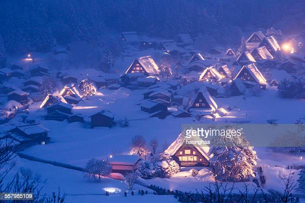 Light up Shirakawa-go village with snow on Winter
