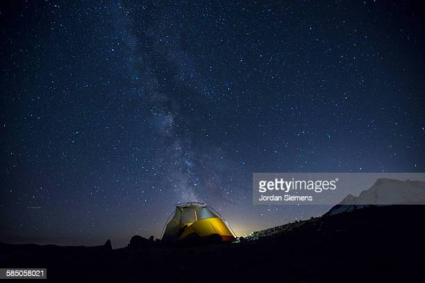 Light up tent under the Milky Way