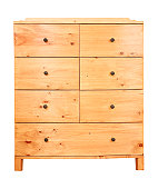 Contemporary pine chest of drawers isolated against a white background with clipping path