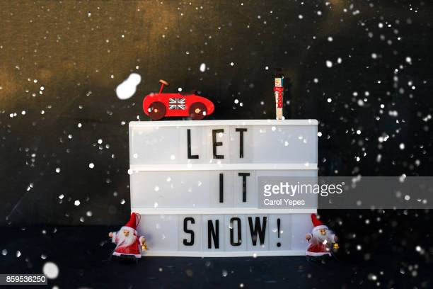 lightbox with message and xmas ornaments