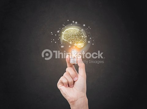lightbulb brainstorming creative idea abstract icon on business hand. : Stock Photo
