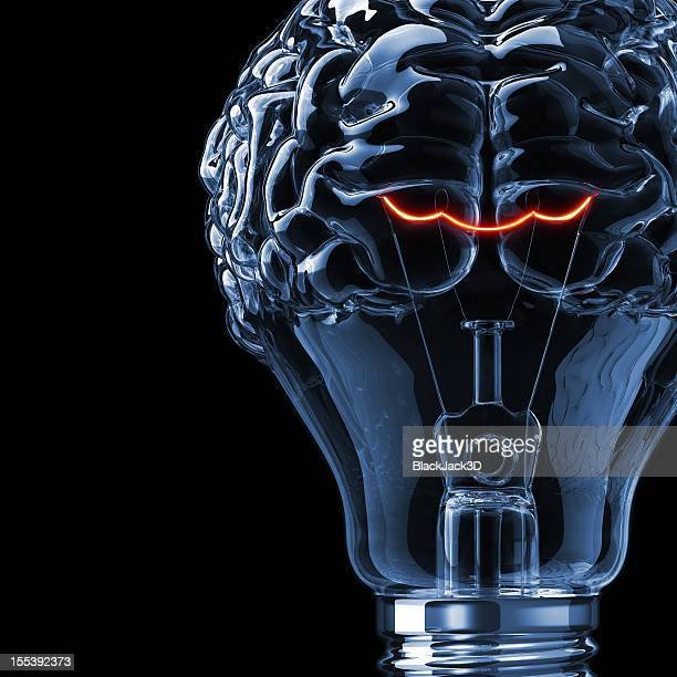 Lightbulb shaped like a human brain