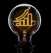 Clean and shiny lightbulb with a growing bar chart as a glowing wire.(series)
