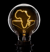 Clean and shiny lightbulb with Africa as a glowing wire.(series)