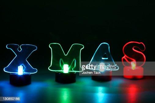 lighted christmas decorations led lighting lettering xmas stock photo - Lighted Christmas Decorations