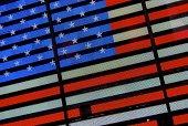 'Lighted flag, tourism New York. Symbol of America.  EEUU.'