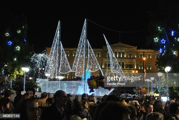 a lighted ship a greek christmas tradition is located in pictures getty images - Greek Christmas Traditions