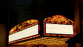 Lighted Theater Marquee at night with 2 copy space areas